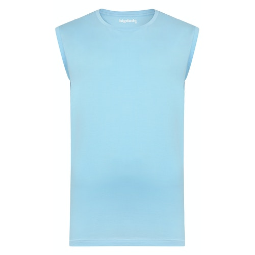 Bigdude Plain Sleeveless T-Shirt Sky Blue