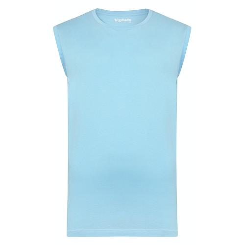 Bigdude Plain Sleeveless T-Shirt Sky Blue Tall