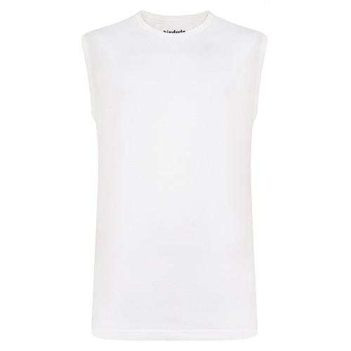 Bigdude Plain Sleeveless T-Shirt White