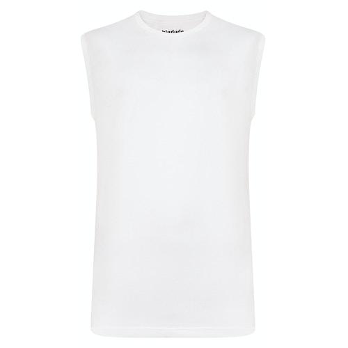 Bigdude Ärmelloses T-Shirt Weiß Tall Fit