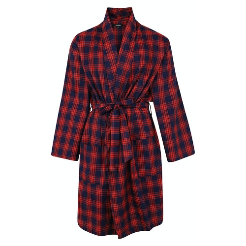 Bigdude Woven Check Dressing Gown Navy/Red