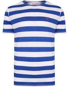 Bigdude Logo Striped T-Shirt Royal Blue/White