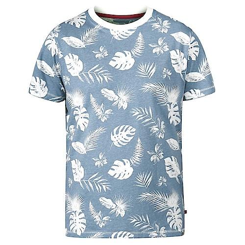 D555 Rudd Hawaiian Print T-Shirt Sky Blue