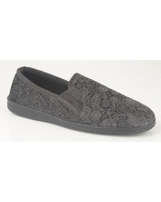 Sleepers Monty Paisley Print Slippers Grey/Black
