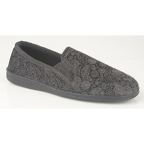 Sleepers Monty Paisley Print Slippers Grey/Black