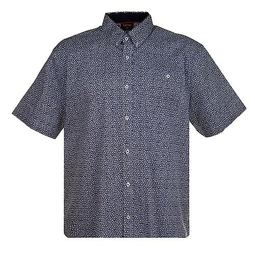 Espionage Kurzarmhemd mit Blumendruck Blau/Weiß