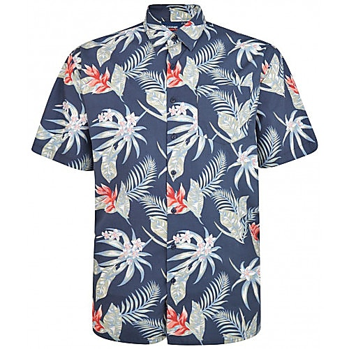 Espionage Washed Floral Print Short Sleeve Shirt Navy
