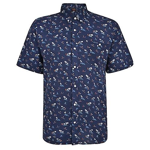 Espionage Palm Print Short Sleeve Shirt Navy