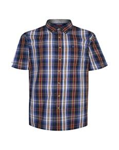 Espionage Check Short Sleeve Shirt Navy/Blue