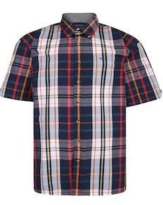 Espionage Short Sleeve Check Shirt Navy/Red