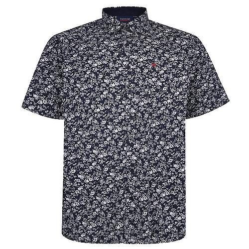 Espionage Kurzarmhemd Blumendruck Marineblau/Weiß