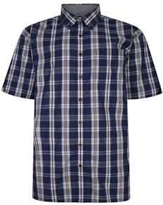Espionage Short Sleeve Check Shirt Navy/Gold