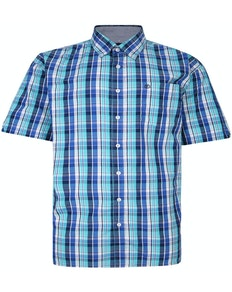 Espionage Short Sleeve Check Shirt Blue/Turquiose