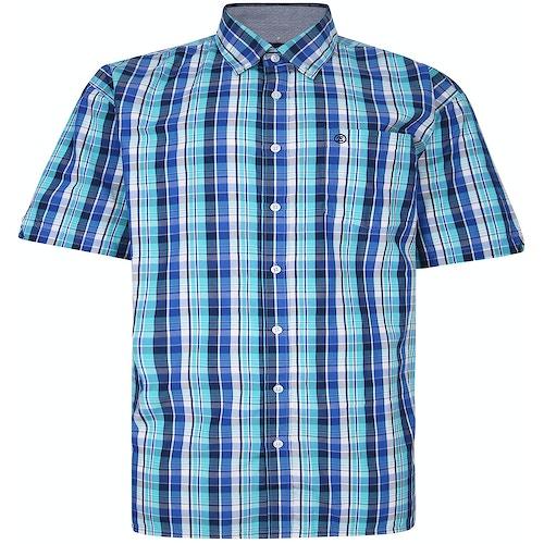 Espionage Short Sleeve Check Shirt Blue/Turquiose