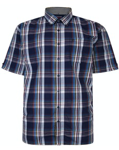 Espionage Short Sleeve Check Shirt Navy/White