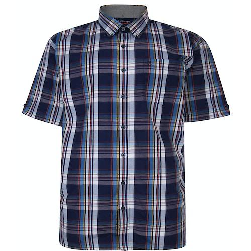 Espionage Short Sleeve Check Shirt Navy/White