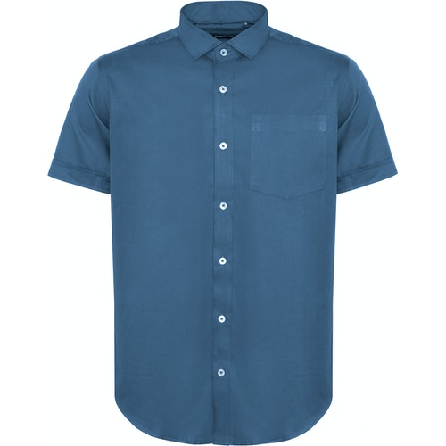 Bigdude Fine Twill Short Sleeve Shirt Blue Tall