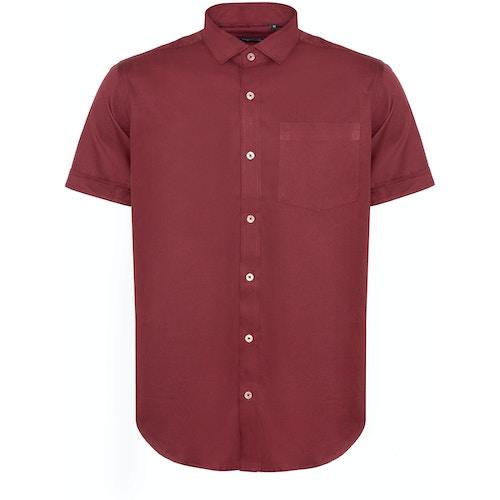 Bigdude Fine Twill Short Sleeve Shirt Burgundy Tall