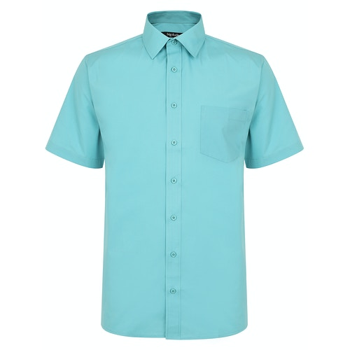 Bigdude Classic Short Sleeve Poplin Shirt Green Tall