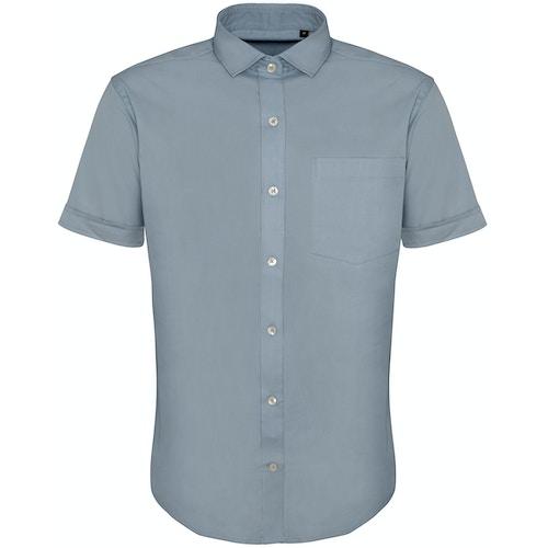 Bigdude Fine Twill Short Sleeve Shirt Light Blue