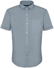 Bigdude Fine Twill Short Sleeve Shirt Light Blue Tall