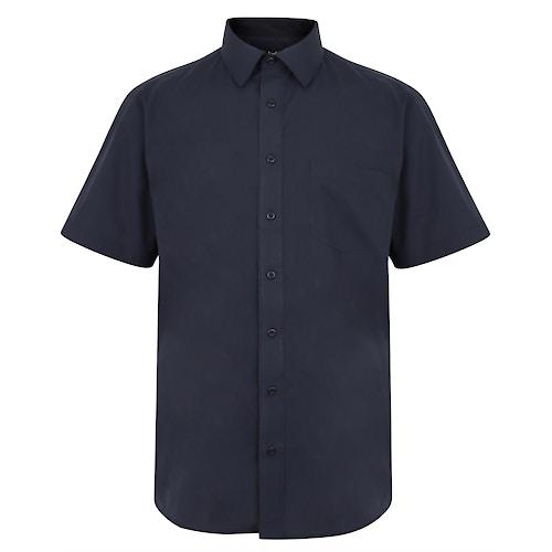 Bigdude Classic Short Sleeve Poplin Shirt Navy Tall
