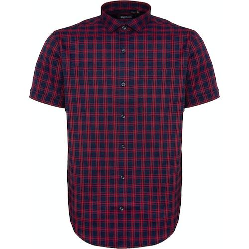 Bigdude Fine Check Short Sleeve Shirt Navy/Red