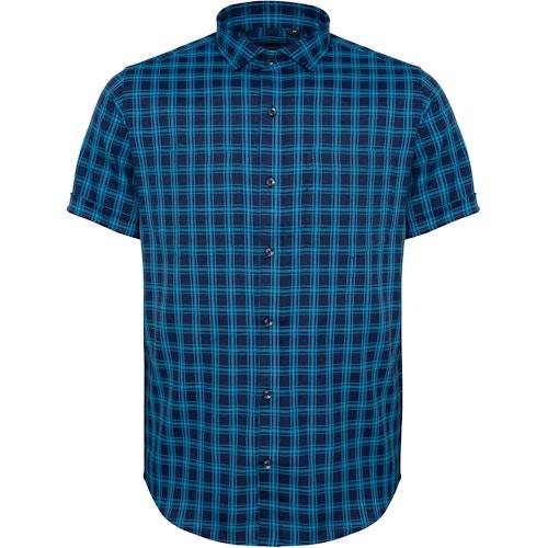 Bigdude Fine Check Short Sleeve Shirt Navy/Turquoise Tall