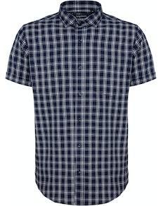 Bigdude Fine Check Short Sleeve Shirt Navy/White Tall