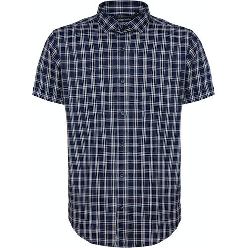 Bigdude kariertes Kurzarmhemd Marineblau/Weiß Tall Fit