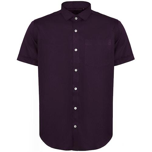 Bigdude Fine Twill Short Sleeve Shirt Plum Tall