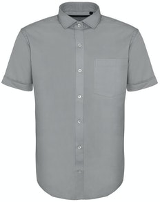 Bigdude Fine Twill Short Sleeve Shirt Stone Tall