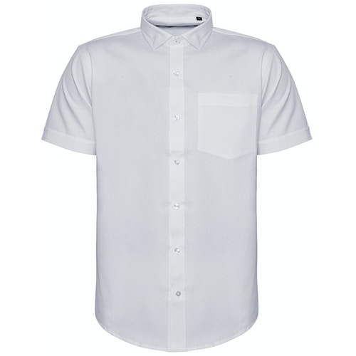 Bigdude Fine Twill Short Sleeve Shirt White