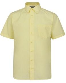 Bigdude Kurzarm Popeline-Hemd Gelb