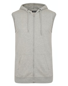 Bigdude Loop Back Sleeveless Hoody Grey Marl Tall