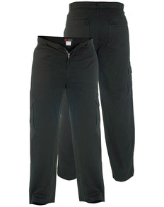 Tall Duke Kingsize Cotton Cargo Trousers Black