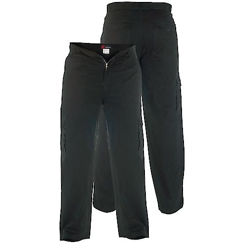 Tall Duke Kingsize Cotton Cargo Trousers Black
