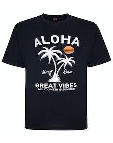 Espionage Aloha Print T-Shirt Marineblau