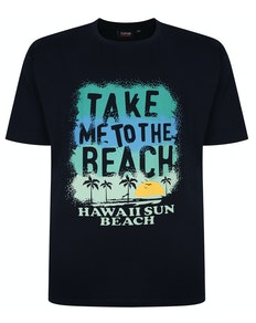 Espionage Beach Print T-Shirt Marineblau