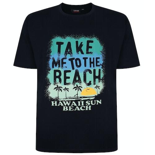 Espionage Beach Print T-Shirt Navy