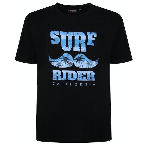 Espionage Surf Rider Print T-Shirt Black