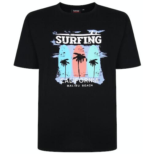 Espionage Surfing Print T-Shirt Black