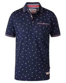 D555 Thames Print Polo Shirt Navy