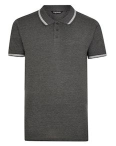Bigdude Kontrast Poloshirt Grau Tall Fit