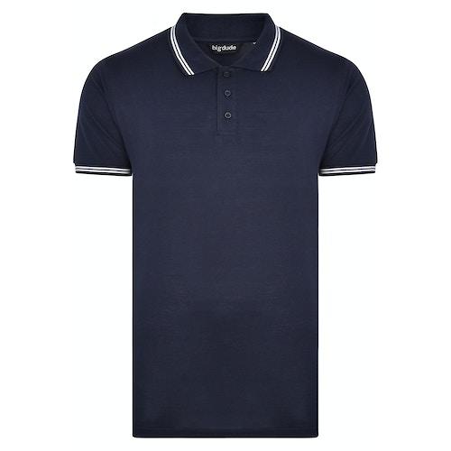 Bigdude Kontrast Poloshirt Marineblau