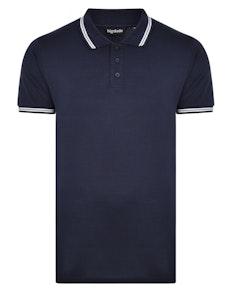 Bigdude Kontrast Poloshirt Marineblau Tall Fit