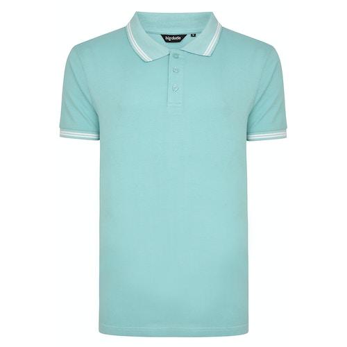 Bigdude Kontrast Poloshirt Türkis Tall Fit