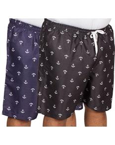 Bigdude Anchor Print Swim Shorts Twin Pack Black/Navy
