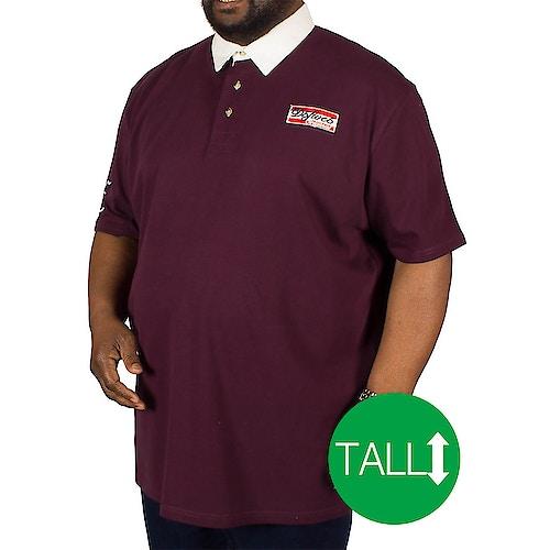 D555 Nash Rugby Polo Shirt Burgundy Tall