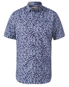 D555 Walpack Hawaii Print Kurzarmhemd Blau